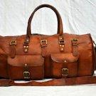 Real goat leather army look medium handamde medium bag gymbag duffle bag