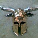 Vintage Medieval Brass Viking Helmet with steel horns - Brass helmet -co