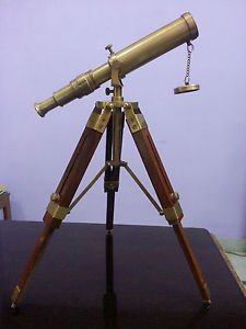 (23.02) Vintage Solid Brass  Marine Nautical Navy Telescope with Tripod Port