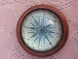 Amazing Vintage Nautical Compass with wooden base Marine