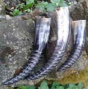 Amazing Screw Finish Viking Drinking Horn for beer, wine, mead, pagan and celtic