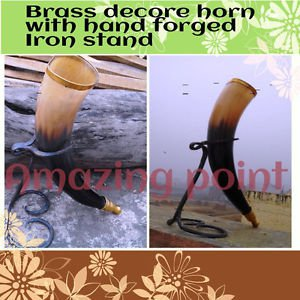 Amazing  Viking Drinking Horn with Hand Forged Iron stand  rernactment  Medieval