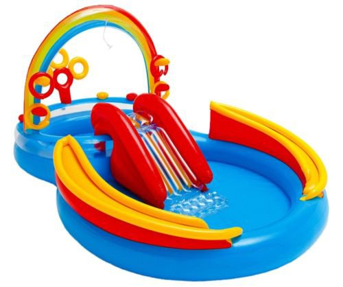 Pool Play Ring Rainbow Center Intex Inflatable Kids Water Slide play ground Ball