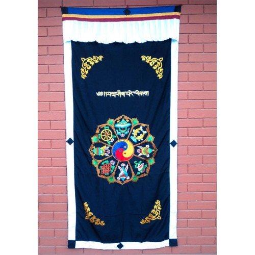 Astamangal Symbol with Ying-Yang Embroidery Black