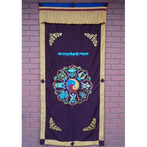 Astamangal Symbol with Ying-Yang Embroidery Maroon