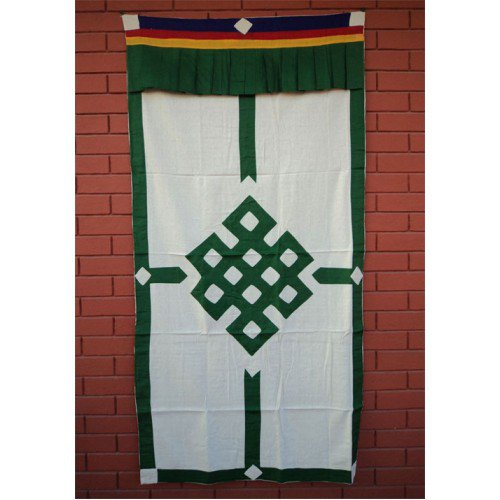 Green Endless Knot Patch Tibetan Cotton Door Curtains