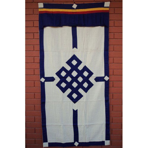 Blue Endless Knot Patch Tibetan Cotton Door Curtains