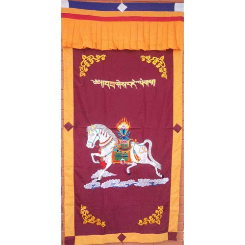 Maroon WindHorse Embroidery Tibetan Buddhist SpunSilk Door Curtain NEPAL