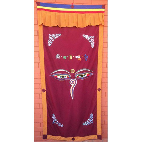 Maroon Wisdom Eye Cotton Door Curtains NEPAL