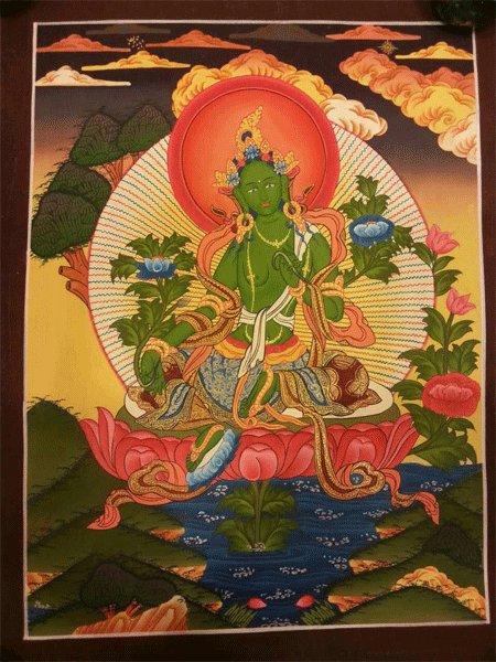 "Green Tara Handpainte�d Thangka Painting(11""x15"")"