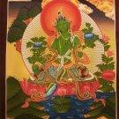 """Green Tara Handpainted Thangka Painting(11""""x15"""")"""