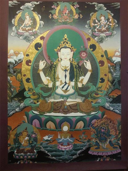 """Abalokiteshwora Handpainte�d Thangka Painting(20""""x30"""")"""