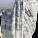 OM Yoga White with Black Cotton Meditation Prayer Shawl