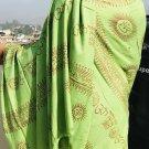 Green Print Om Yoga Meditation Cotton Prayer scarf-I