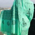 Green Om Prayer Shawl, Yoga Meditation Cotton Shawl/Scarf