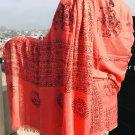Lord Shiva with Om Namah Shivaya Printed Red Cotton Shawl From Nepal