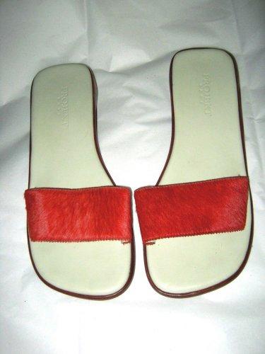 Projekt Base orange hair leather low heel open toe slide sandals 8 M Brazil