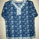 Orvis blue white floral 1/2 button cotton boho blouse top M NWOT short sleeve