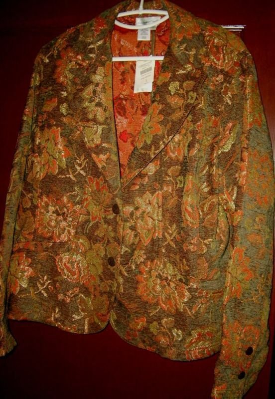 Coldwater Creek floral tapestry jacket blazer L NWT