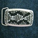 "Mosaic beaded pewter black & white silver tone brass belt buckle NEW 3"" x 1.75"""