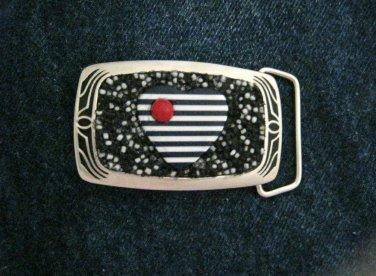 "Mosaic beaded Heart black & white silver tone brass belt buckle NEW 3"" x 1.75"""