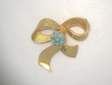 """VTG Beau Jewels gold tone & faux turquoise 2"""" bow pin brooch"""