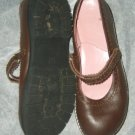 Gap brown leather mary jane flat shoe 4 M EC Brazil