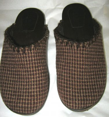 J Crew brown check fabric mule slide clogs sz 7 EC wooden sole Italy