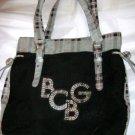 "BCBGirls gray black red plaid corduroy large tote bag purse 12"" x 14"""