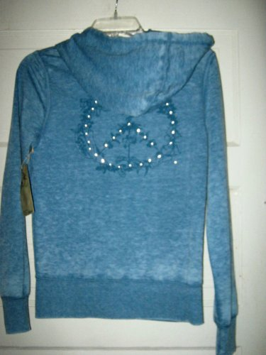 Free Planet heather blue cotton blend hoodie jacket S NWT $ 68 graphics beaded