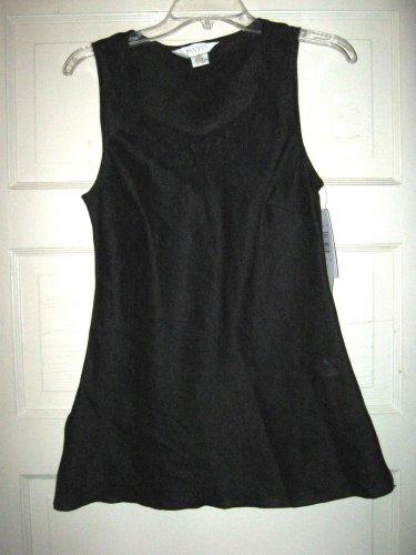 Allison Taylor black linen scoop neck tunic tank shirt top S NWT lace accent