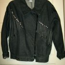 Fiorentini black denim rhinestone jacket M Italy NWOT