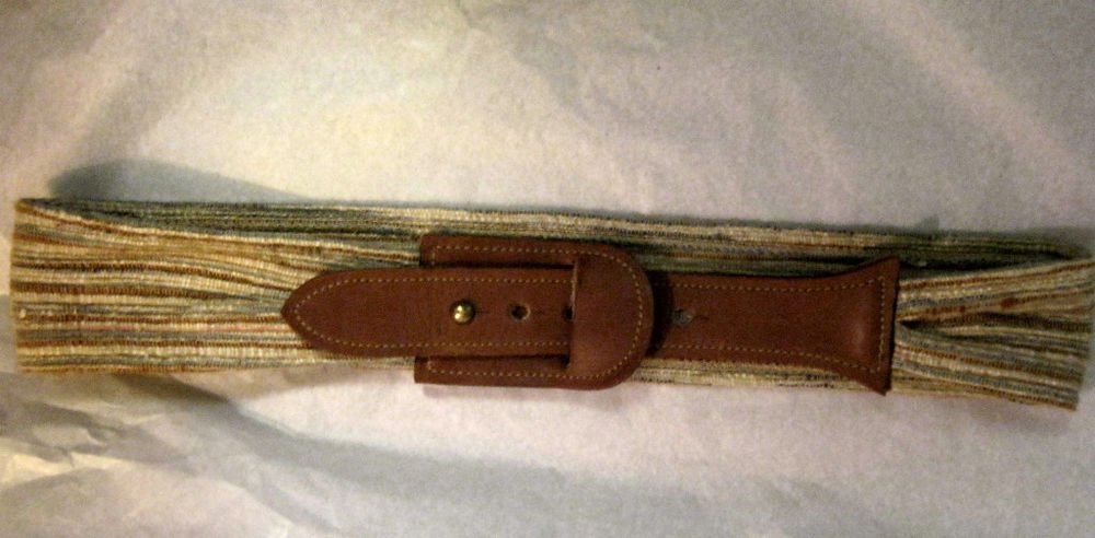 "VTG Banner House brown leather woven fabric belt  30"" x .2.25"" MINT"