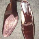 """Nordstrom brown leather slide mule 2.5"""" heel 8 N MINT"""