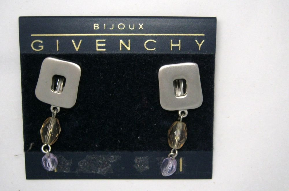 """Givenchy pewter tone Swarovski crystal 1.5"""" drop clip earrings MINT signed!"""