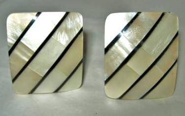 """MOP Mother of Pearl inlay rectangle clip earrings 1"""" x 1.25"""""""