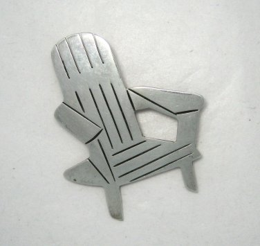 """Adirondack Chair 925 Sterling Silver 2"""" pin brooch signed Mexico TR-16"""