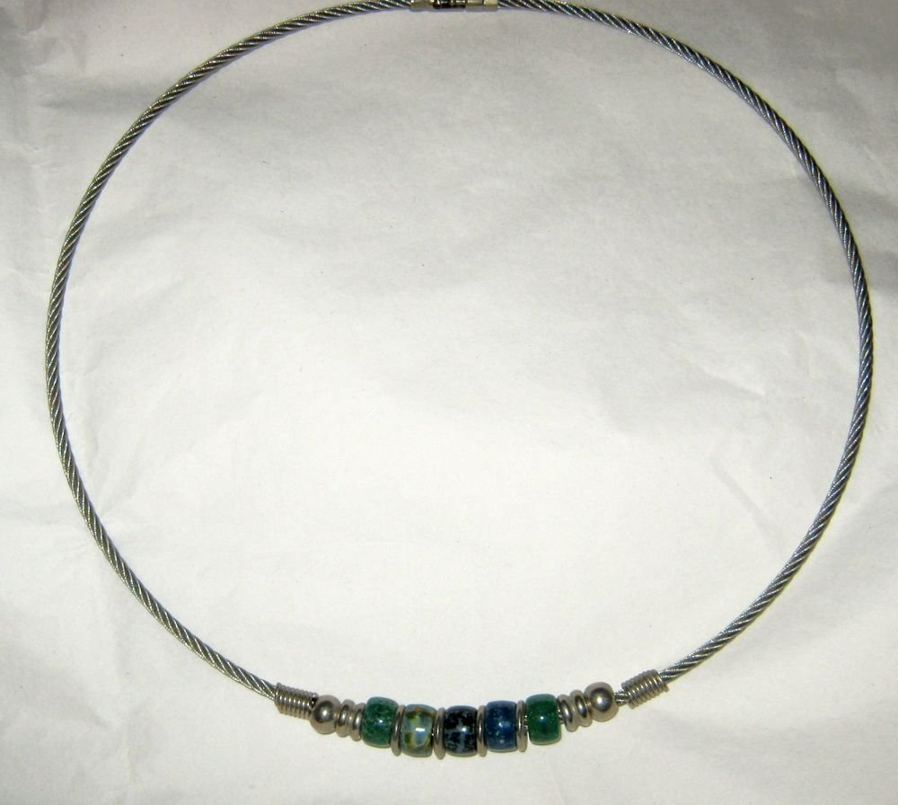 Silver tone blue green glass beaded cable choker necklace 18""