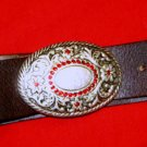 """American Eagle Outfitters brown leather belt M 34 x 1.5"""" NWOT Rhinestone buckle"""
