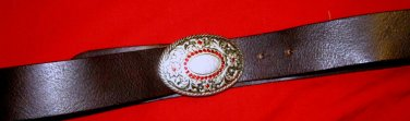 "American Eagle Outfitters brown leather belt M 34 x 1.5"" NWOT Rhinestone buckle"