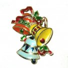 "VTG Christmas Bells hard plastic 2"" pin brooch Hong Kong EC"