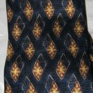 "Barbara Blank NY navy blue gold rust 100% crepe silk 4"" blade tie NWT Handmade"