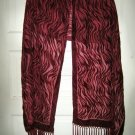 "Burgundy burn out rayon velvet sheer long scarf wrap shawl sarong MINT 68"" x 20"""