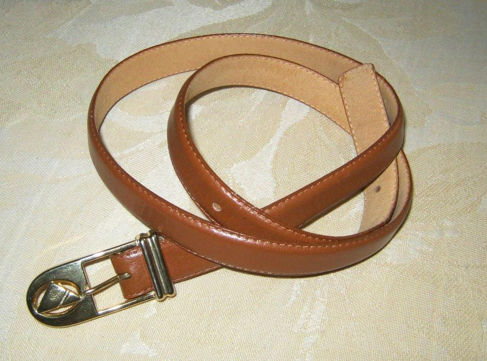 "Liz Claiborne brown leather skinny belt L 35"" x  3/4""  gold tone hook buckle"