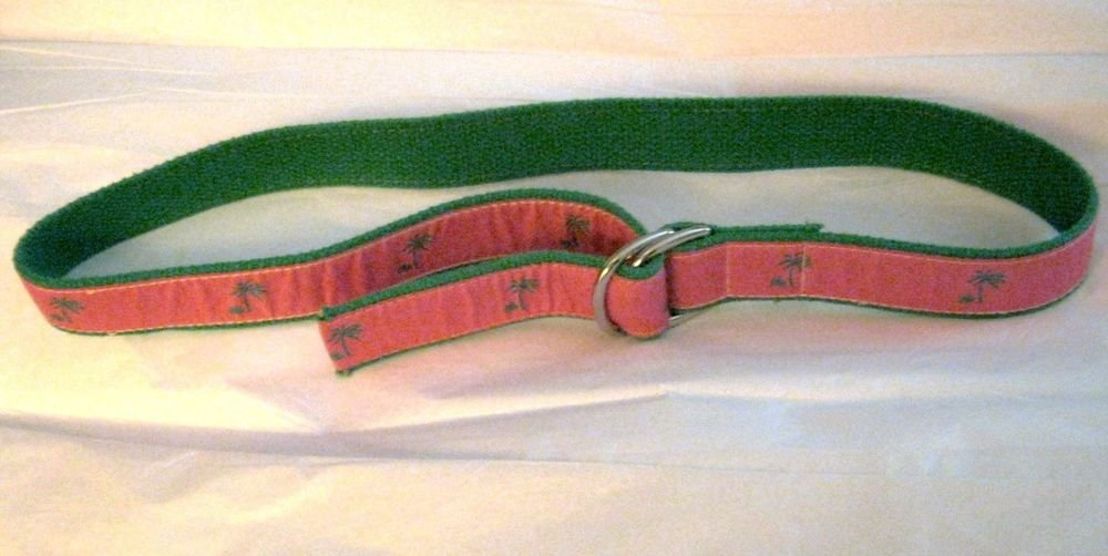 "Preston pink green palm fabric ribbon D ring belt S total length 38"" x 1.25"" USA"