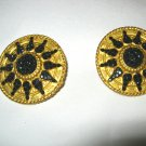 "Richard Kerr black & goldtone 1.5"" round clip earrings MINT signed!"