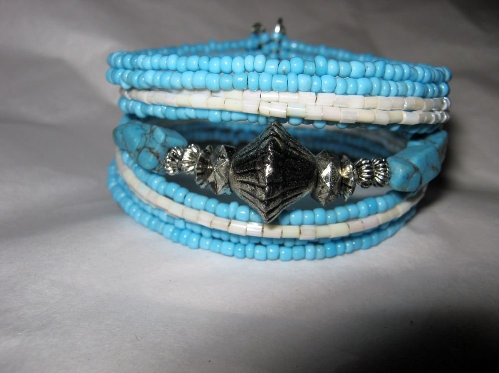 Turquiose silver tone blue white seed bead wide cuff bracelet adjustable wire
