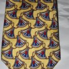 VTG Christion Dior Cravate yellow red fan silk tie MINT