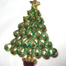"Gold tone green red enamel figural Christmas Tree 2.25"" pin brooch MINT"