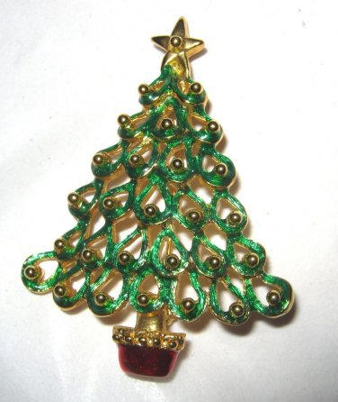 """Gold tone green red enamel figural Christmas Tree 2.25"""" pin brooch MINT"""